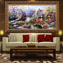 High Quality DIY Hand Stitch Landscapes Garden lodge Painting Cross Stitch Kits Embroidery Home Decoration