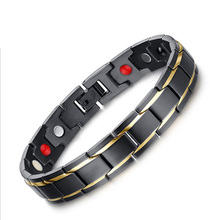 Fashion Healing FIR Magnetic Titanium Bio Bracelet For Men Blood Pressure Health Bio Bracelets Black And Gold-color Jewelry(China)