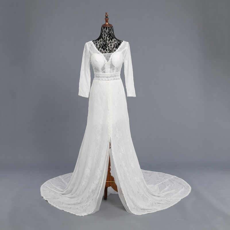 Real Photo Images Sexy Illusion Travel Wedding Dress Vneck Wedding Gown Beautiful Lace Sweep Train Arab Wedding Dresses New
