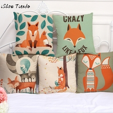 Lovely Cute Animals Fox Pattern Cushion Cover For Sofa Bed Home Decor 45X45cm Decorative Throw Pillows Case Hot Sell IN STOCK