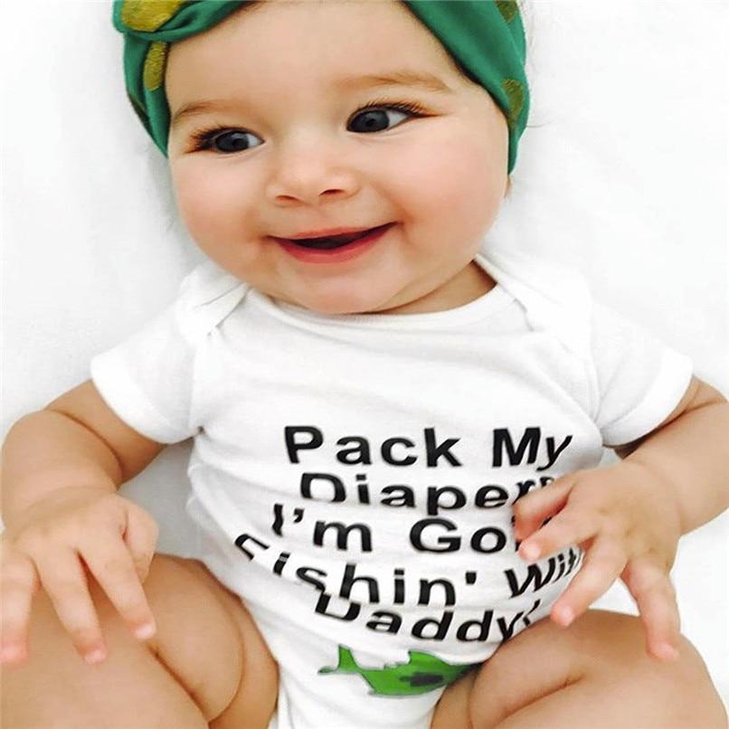 Baby Girls Boys Girls Infant Letter Fish Short Sleeve Clothes Jumpsuit Romper NDA84L09 (11)