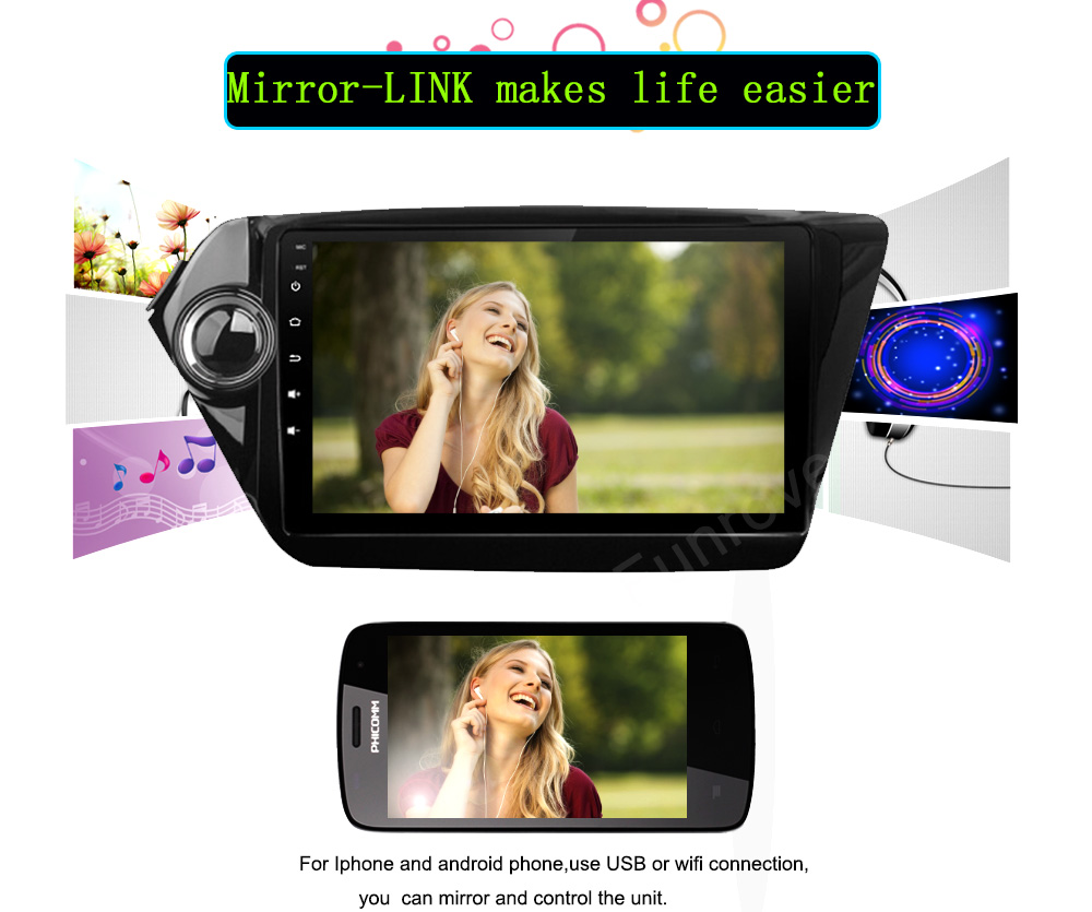 Android 5.1.1 Car GPS Navigation for Kia RIO K2 2010 2011 2012 2013 2014 2015 2016 Quad Core 9 inch 2 din Radio Player WIFI DVR