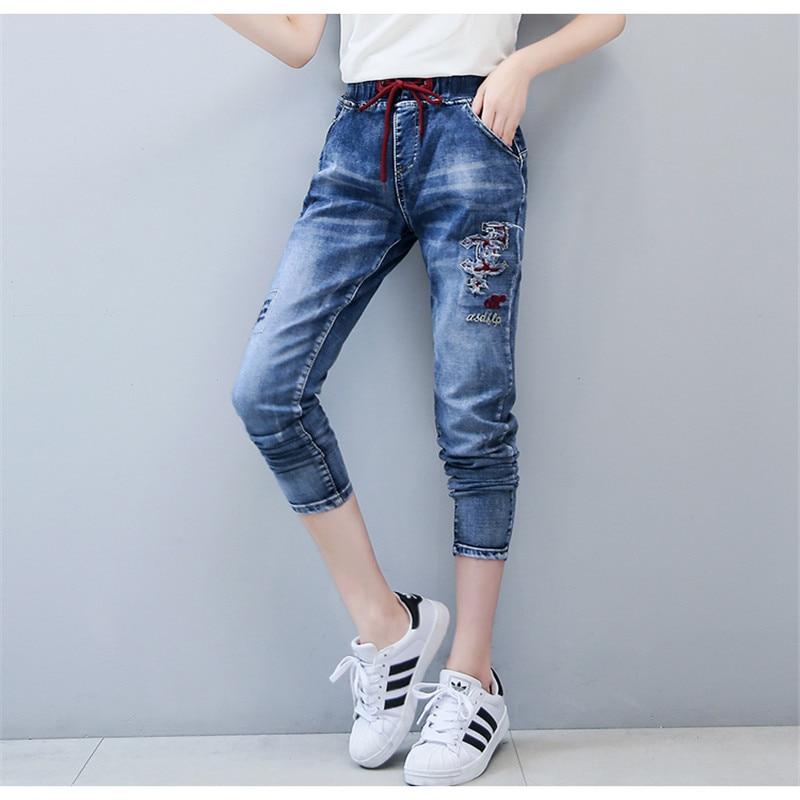 New Fashion Women Jeans Harem Pants Stretch Slim Ripped Pencil Pants Elastic Waist Trousers Casual Pantalon Femme Hot Plus SizeОдежда и ак�е��уары<br><br><br>Aliexpress