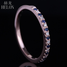 HELON Eternity Band Engagement Wedding Anniversary Natural Diamonds & Sapphires Ring Solid 14K Rose Gold Women's Jewelry Ring