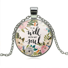 JEPHNE Wisdom Bible Verse It is well with MY Soul Lettering Necklace Quote Faith Inspirational Women Men Christian Jewelry Gifts(China)