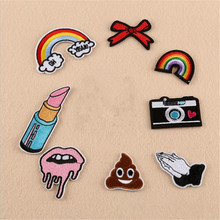 DIY Rainbow Lip Balm Camera Poo Patches Iron On Embroidered Patch For Clothing Stick On Badge Paste For Clothes Sew On Bag Pants