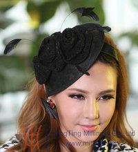 Free Shipping New Women Hat Elegant Black Fascinator Hats Hair Accessories Lace Rose With Feather Female Hair Decorator Headband