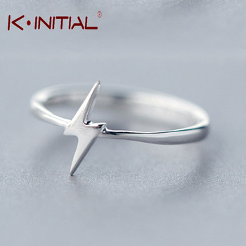 Kinitial 1Pcs 925 Silver Tiny Thunder Ring Cute Unique Initial Z Shape Adjustable Stretch Cool Rings Fashion Wedding Jewelry