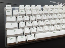 Double shot 108 key complete set White green words  PBT keycap OEM Profile For MX Switches Mechanical Gaming Keyboard