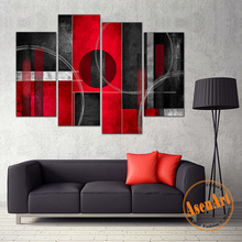4 Pcs Abstract Handpainted Oil Painting Red and Black with Circles Abstract Canvas Painting Wall Art Picture for Home Decoration