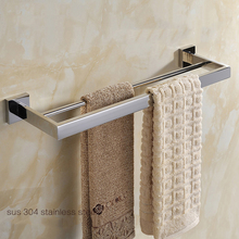 Chrome Finish Double Towel Bar.Double Bars Hanger.Polished Stainless Steel Towel Holder.Bathroom Accessories