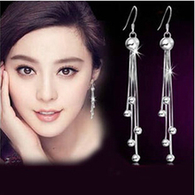 2016 New Arrival high quality fashion long tassels design 925 sterling silver ladies`stud earrings jewelry wholesaler gift(China)