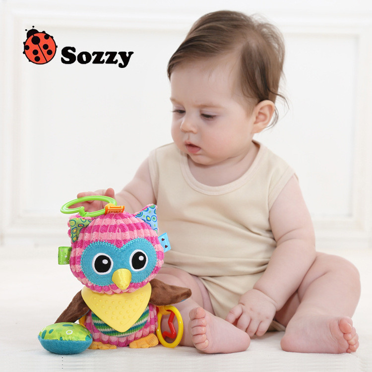 Sozzy Baby Animals Buddies Placate Activity Stuffed Plush Lion Dog Owl Elephant Monkey Teether Toy cm Multicolor Multifunction 2