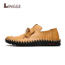 2018 New Casual Men 로퍼 봄 및 가 망 Lace-up Soft Leather 모카신 Shoes 가죽 Men's 츠 신발(China)