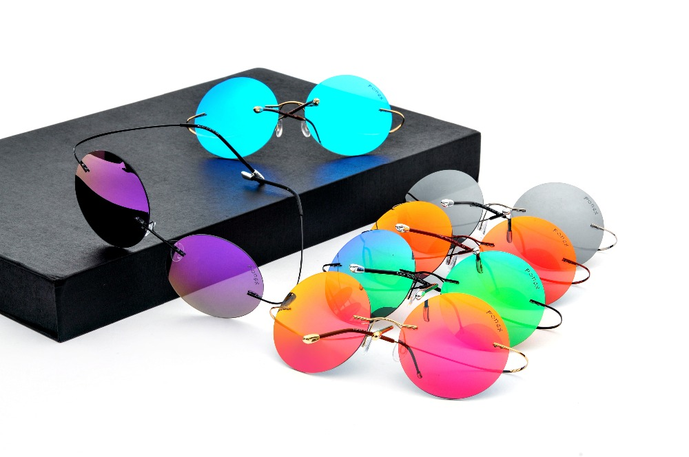 Luxury Brand designer rimless sunglasses Men women polarized sunglasses Driving round goggle mirror Titanium Sunglasses UV400<br><br>Aliexpress