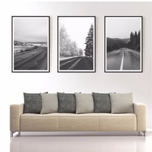 Morden Home Decoration Wall Art Roads and Woods Wall Pictures White and Black Paintings For Living Room Nordic Posters and Print