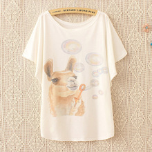 2017 New Arrival Summer Style Cartoon Camel Blowing Bubbles Printing Women Fashion T-shirt Loose Casual T Shirt Tees Tops Women