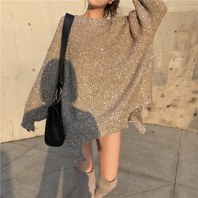 NiceMix 2019 Women Autumn Winter Shiny Bling Bling Sweaters Befree Femal Sweater Knitting Pullovers Turtleneck Tops Jumpers