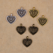 YAGE 16*14mm 50pcs Wholesale Tibetan Silver Hearts Charms,Alloy Metal vintage Hollow small Charms for jewelry making bedels