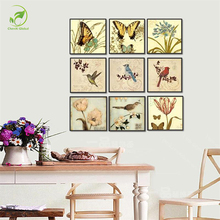 Modern Multi-picture Melamine Sponge Board Canvas Oil Painting Animal Picture Butterfly Birds Flowers Unframed Wall Art Paint