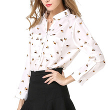 HOT SALE OL Women Blouses Casual Style Dog Print  Long sleeve Stand Collar Shirts Blusa Feminina Size S-XL
