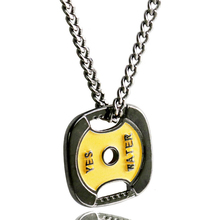 Weight Plate Pendant Necklace Gold Stainless Steel Chain Fitness Strength Necklace Weight Lifting Sports Hip Hop Jewelry