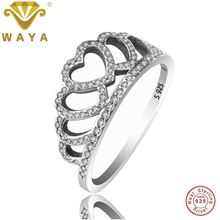 WAYA Fine Jewelry Hearts Tiara Rings With Clear CZ 925 Sterling Silver Ring For Women Wedding Finger Famous Original Jewelry