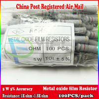 New 100pcs 5% 5W Metal oxide film Resistor 1k 1.2k 1.3k 1.5k 1.8k ohm Carbon Film Resistor