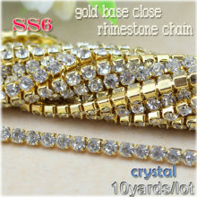 Free shipping 10 yards/lot gold base close clear crystal white rhinestone SS6(2mm) Rhinestone Cup Chain For Bags Design