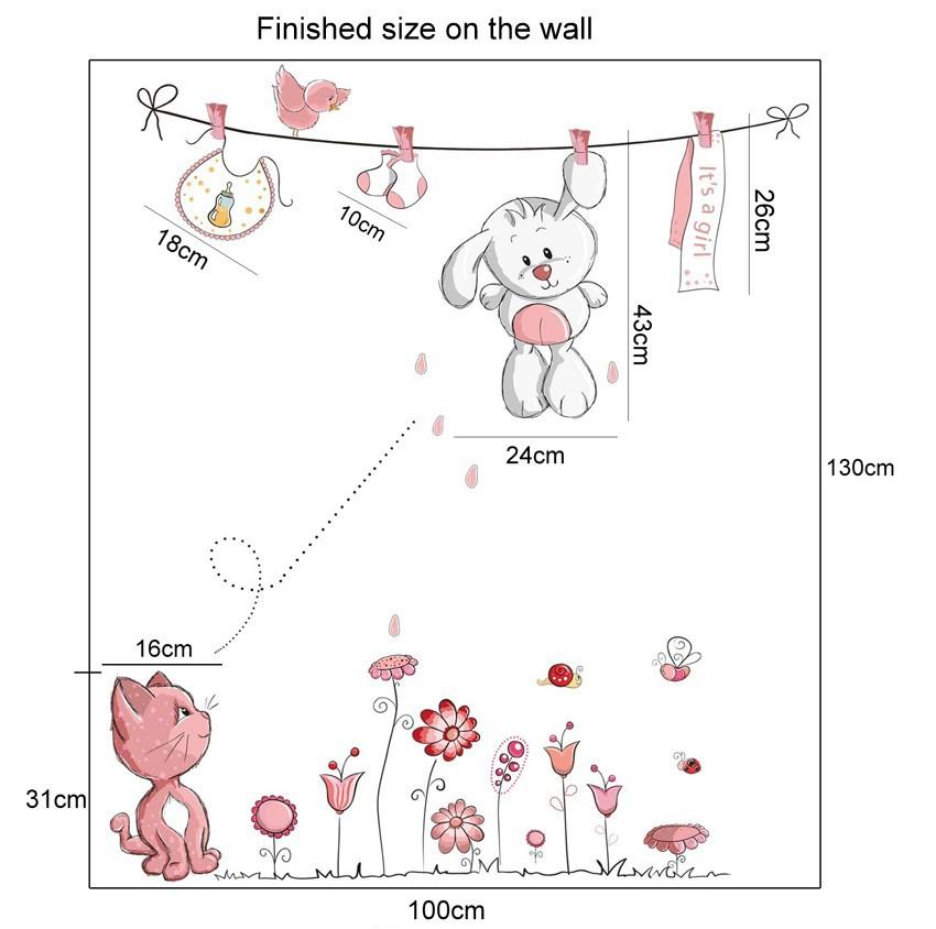 HTB1F2c2m26H8KJjSspmq6z2WXXaj - Pink Cartoon Cat Rabbit Flower Wall Sticker For Baby Girls Kids Rooms