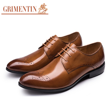 GRIMENTIN Brand Italian mens formal shoes genuine leather handmade pointed toe carved men oxfords shoes for wedding business 2H1(China)