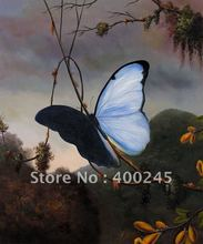 Animal oil painting Decorative painting Blue Morpho Butterfly by Martin Johnson Heade canvas 100%handmade Mesuem quality