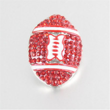 18mm Rhinestone Soccer Ball Snap Button Jewelry With Red Crystal Snap Charms Fit DIY Metal Diy Snap Button Bangles