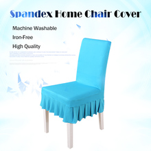 2016 New 1PC Universal Polyester Spandex Lycra Pleated Chair Cover Skirt for Wedding Banquet Party Event Hotel Decor Slipcovers(China)