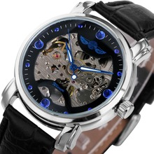 WINNER Watch Winner Black Skeleton Designer Blue Engraving Clock Men Leather Strap Top Brand Luxury Automatic Watch Montre Homme(China)