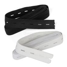 Sewing Button Hole Knit Elastic Band 1.5m 2cm Pack of 2 White and Black Free Shipping