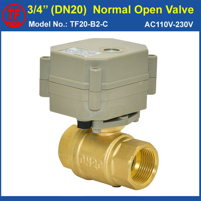 TF20-B2-C 2 Wires DN20 Normal Open Electric Water Valve 2-Way Brass 3/4 BSP/NPT AC110V-230V On/Off 5 Sec Metal Gear<br><br>Aliexpress