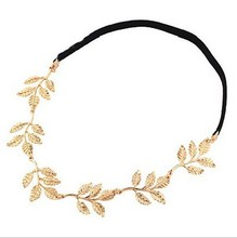 Wholesale Chic Elegant Women Girls Retro Vintage Hollow Leaf Elastic Hair Band Headband hair Accessories(China)