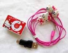 30pcs/lot Hello Kitty Clip MP3 Music Player Support TF Card With Hello KItty Earphone & Mini USB top quality