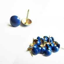 100pcs Colorful Upholstery Nail Jewelry Gift Case Box Wall Door Sofa Furniture Decorative Tack Stud Pushpin Hardware Blue 11mm