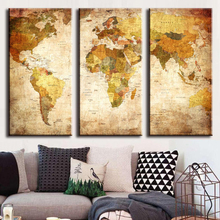 Hot sell 3 Panel Vintage World Map Canvas Painting Oil Painting Print Home Decor on Wall Art Picture For Living Room Unframed