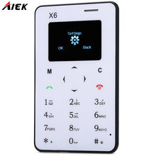 AIEK X6 1.0 inch Quad Band Card Mobile Phone Bluetooth 3.0 FM Audio Player Students Children Ultra Thin Pocket Mini Cellphone(China)