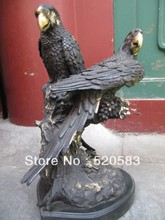 14'' West Art bronze copper sculpture two hawk parrot Art Deco figurine statue