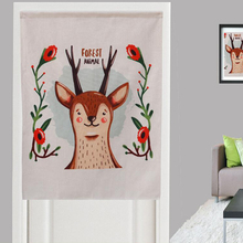 1 Pcs Valance for Door Polyester Cute Forest Animal Printed Short Door Curtain for Living Room Kitchen  Home Thick Decor Fabric