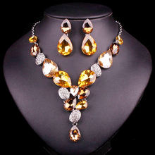 Fashion Bridal Jewelry Sets Wedding Necklace & Earrings Set for Girls Korean Jewellery Party Costume Accessories Wholesale Women(China)