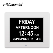 Photo frame Digital desktop&table clock LED Large Alarm Clock Calendar Large-Time Day and Date Display Impaired-8 Inch 8 Languae(China)