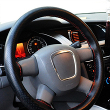 38cm Universal braid on the steering wheel Sew Microfiber car steering wheel cover to cover the entire single connector