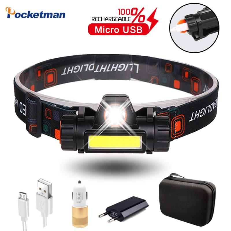 LED Headlamp Rechargeable Headlight COB Head Torch Fishing Lights Outdoor