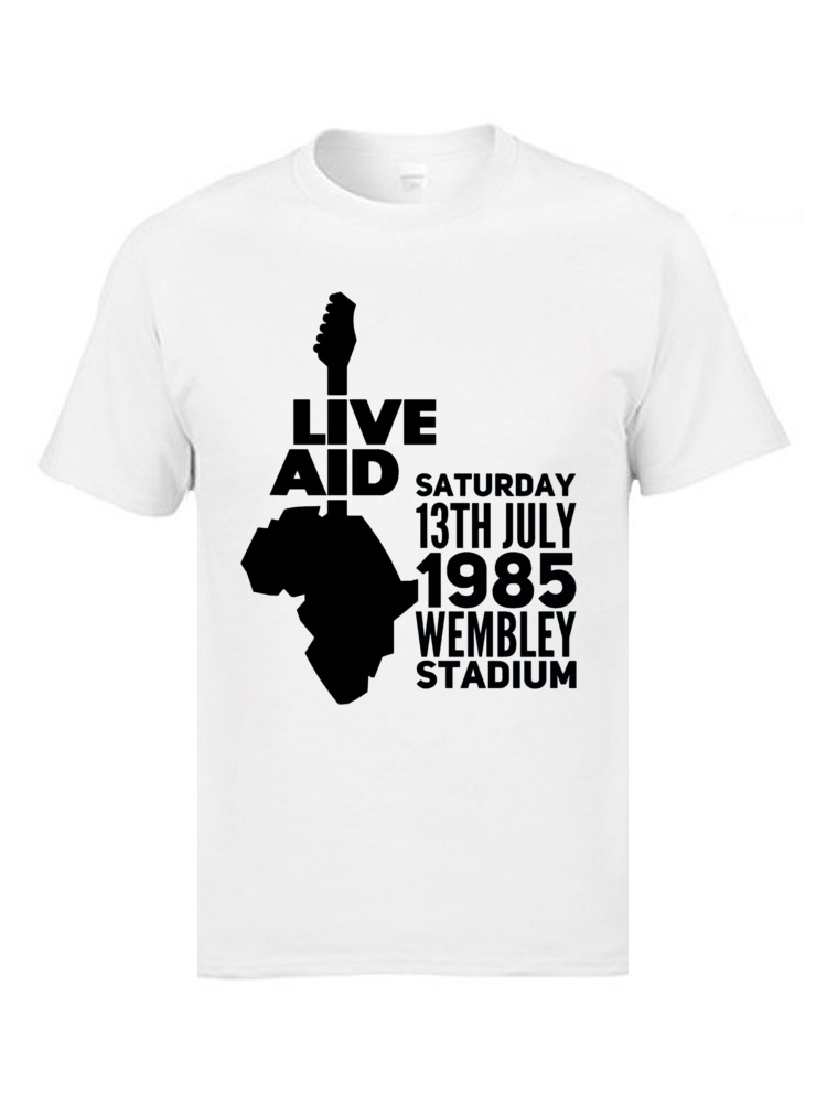 Live aid 9622 T-shirts for Men Family Labor Day Tops Shirts Short Sleeve 2018 New Slim Fit Tee-Shirt Crew Neck 100% Cotton Live aid 9622 white