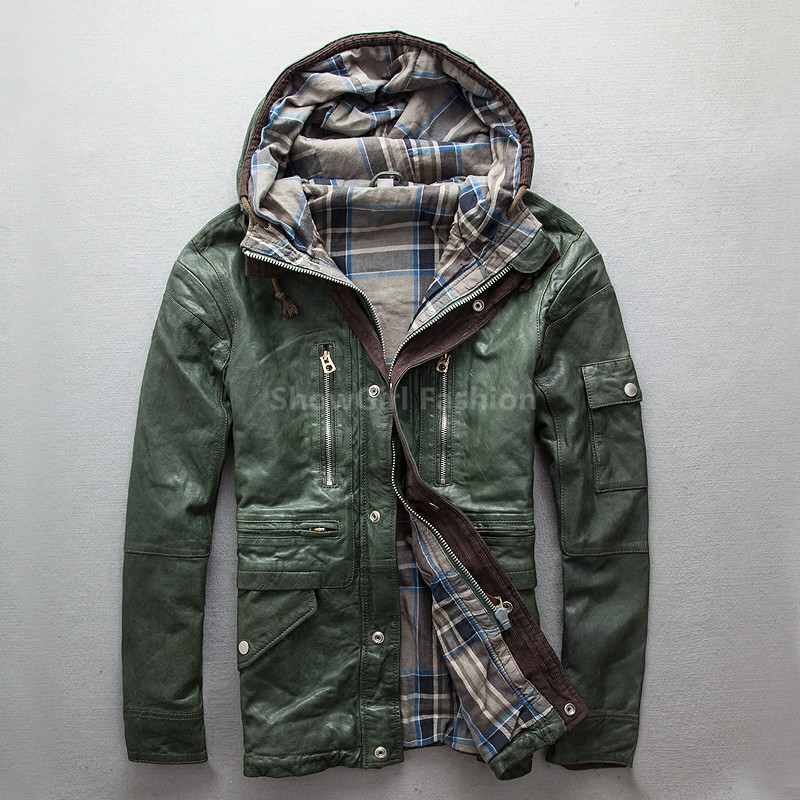 2017 Men Green Hood Long Genuine Leather Jacket Real Sheepskin Plus Size XXXL Slim Fit Russian Winter Casual Coat FREE SHIPPING